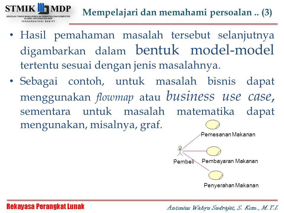 Rekayasa Perangkat Lunak Antonius Wahyu Sudrajat, S. Kom., M.T.I. Mempelajari dan memahami persoalan.. (3) Hasil pemahaman masalah tersebut selanjutny