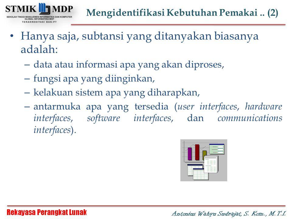 Rekayasa Perangkat Lunak Antonius Wahyu Sudrajat, S. Kom., M.T.I. Mengidentifikasi Kebutuhan Pemakai.. (2) Hanya saja, subtansi yang ditanyakan biasan