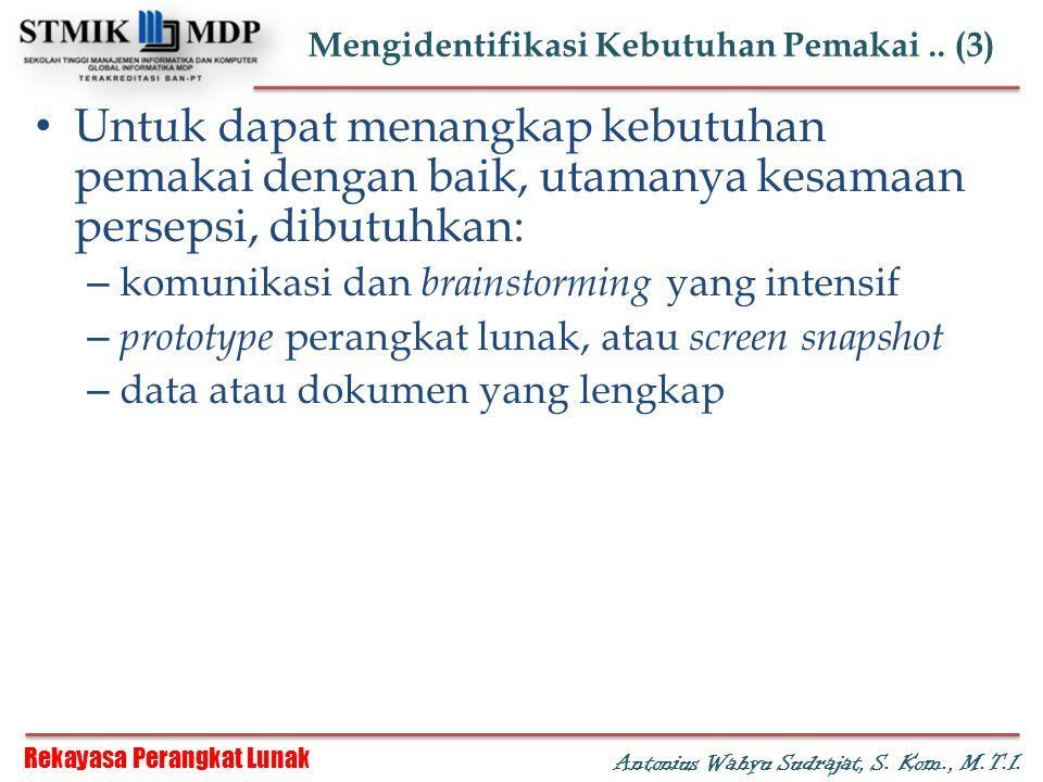 Rekayasa Perangkat Lunak Antonius Wahyu Sudrajat, S. Kom., M.T.I. Mengidentifikasi Kebutuhan Pemakai.. (3) Untuk dapat menangkap kebutuhan pemakai den