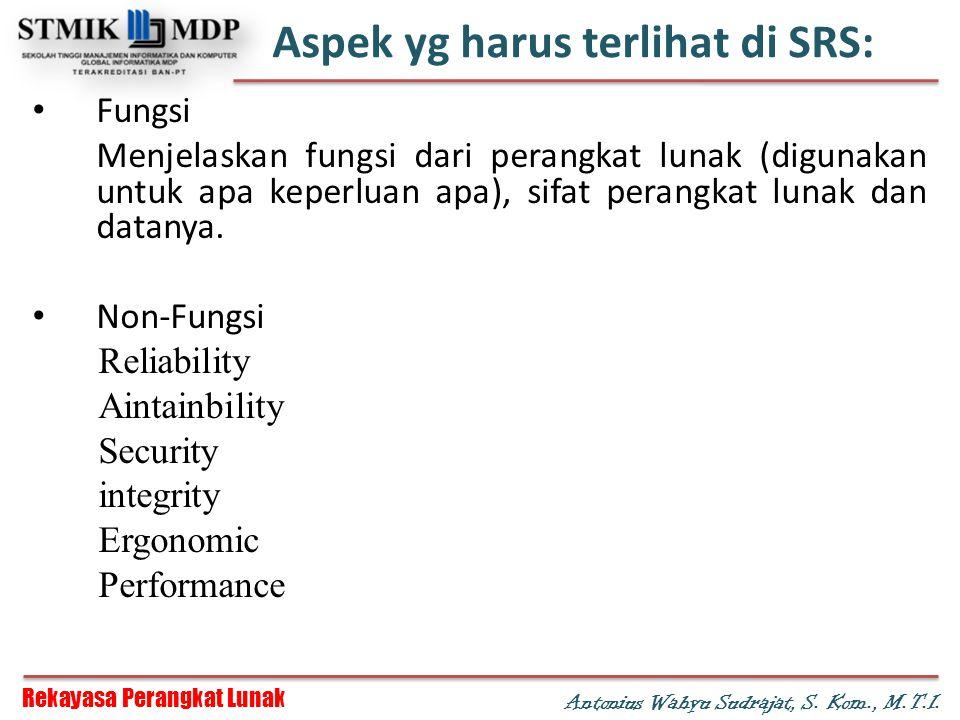Rekayasa Perangkat Lunak Antonius Wahyu Sudrajat, S. Kom., M.T.I. Aspek yg harus terlihat di SRS: Fungsi Menjelaskan fungsi dari perangkat lunak (digu