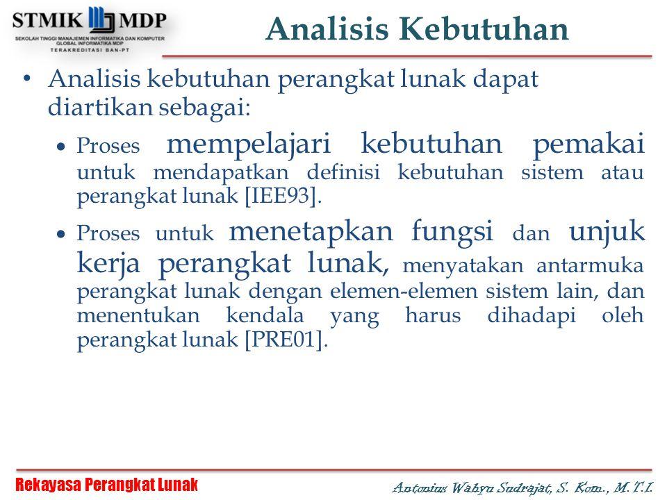 Rekayasa Perangkat Lunak Antonius Wahyu Sudrajat, S. Kom., M.T.I. Analisis Kebutuhan Analisis kebutuhan perangkat lunak dapat diartikan sebagai:  Pro