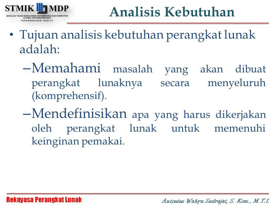 Rekayasa Perangkat Lunak Antonius Wahyu Sudrajat, S. Kom., M.T.I. Analisis Kebutuhan Tujuan analisis kebutuhan perangkat lunak adalah: – Memahami masa