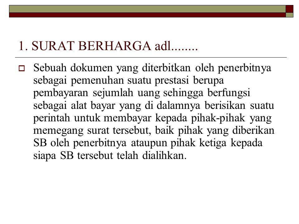 1. SURAT BERHARGA adl........  Sebuah dokumen yang diterbitkan oleh penerbitnya sebagai pemenuhan suatu prestasi berupa pembayaran sejumlah uang sehi