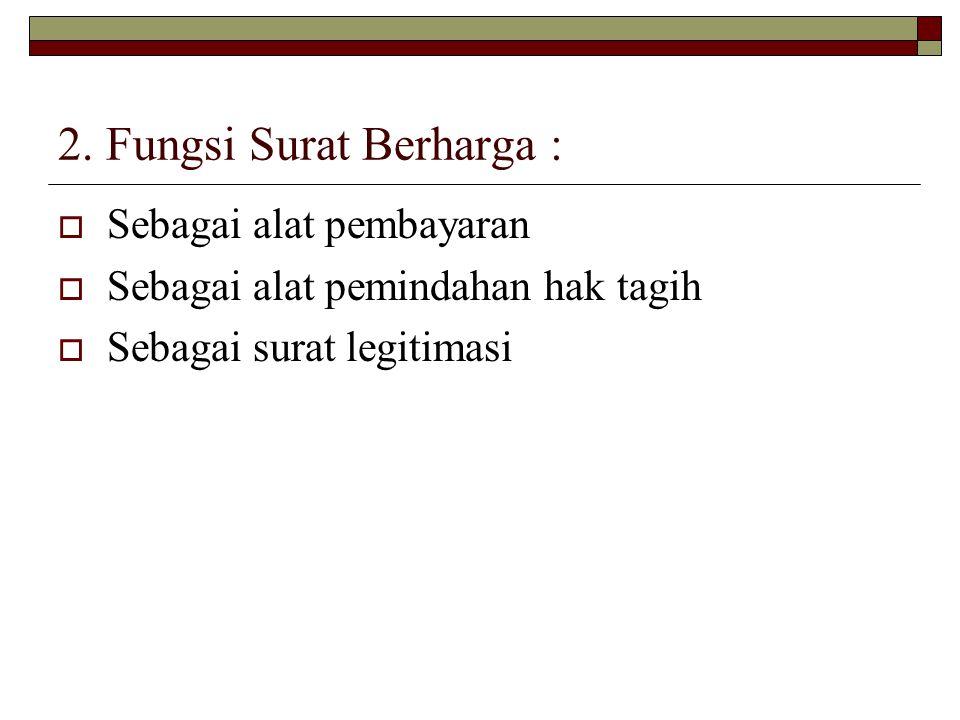 3.Dasar Hukum SB  KUHD, misal terhadap Wesel, Cek, Surat Sanggup, Promes atas unjuk.