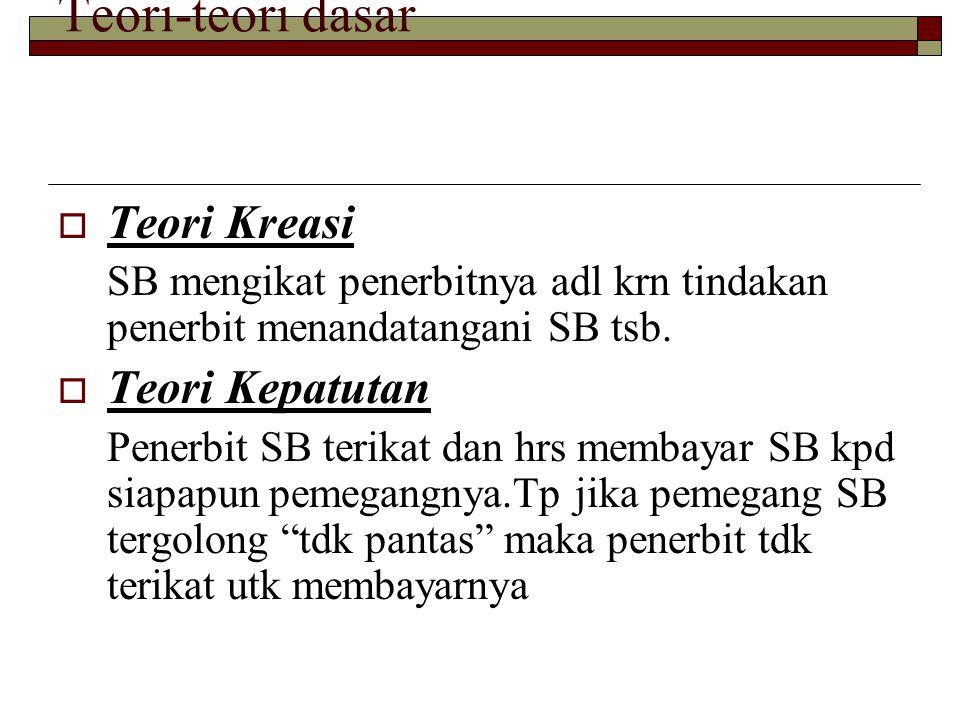Teori-teori dasar  Teori Kreasi SB mengikat penerbitnya adl krn tindakan penerbit menandatangani SB tsb.  Teori Kepatutan Penerbit SB terikat dan hr