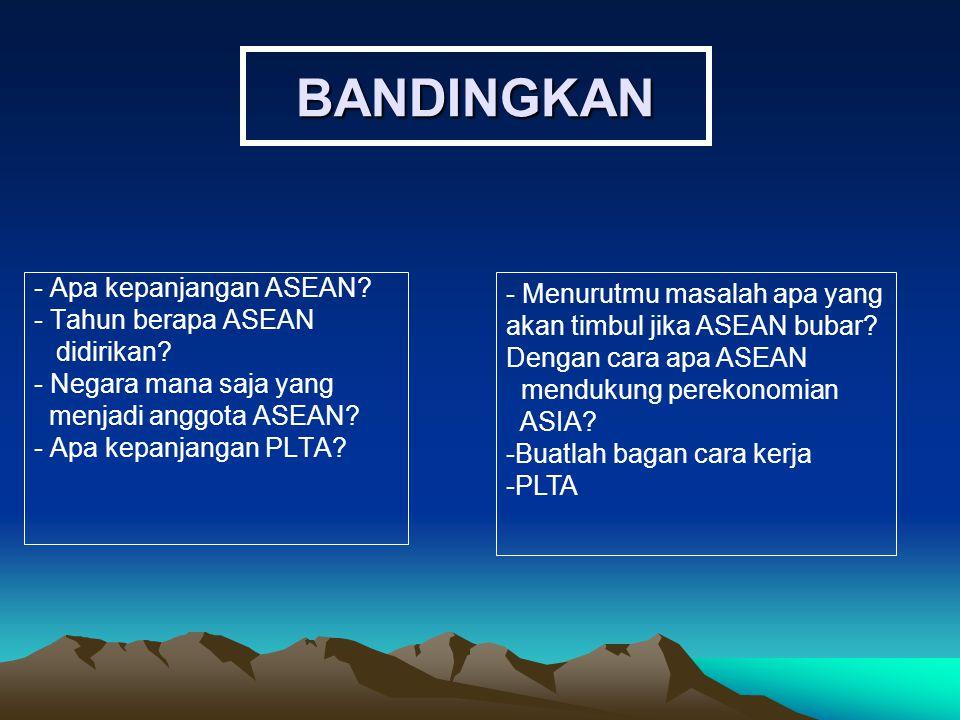 BANDINGKAN - Apa kepanjangan ASEAN? - Tahun berapa ASEAN didirikan? - Negara mana saja yang menjadi anggota ASEAN? - Apa kepanjangan PLTA? - Menurutmu