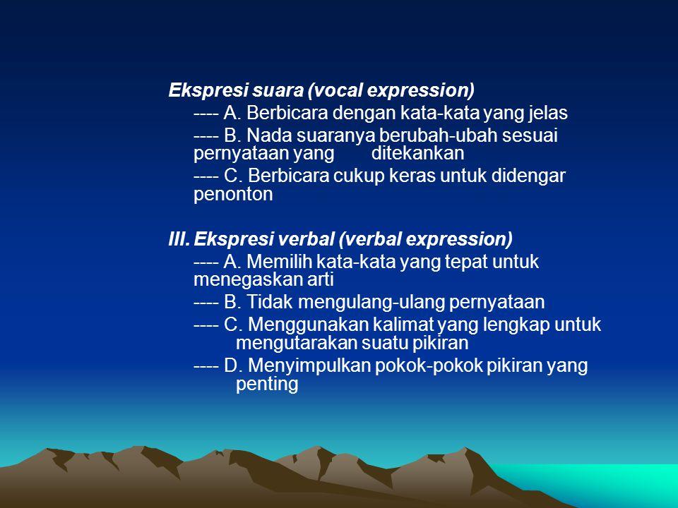 Ekspresi suara (vocal expression) ---- A. Berbicara dengan kata-kata yang jelas ---- B. Nada suaranya berubah-ubah sesuai pernyataan yang ditekankan -