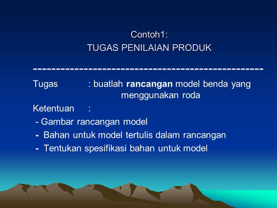 Contoh1: TUGAS PENILAIAN PRODUK -------------------------------------------------- Tugas: buatlah rancangan model benda yang menggunakan roda Ketentua