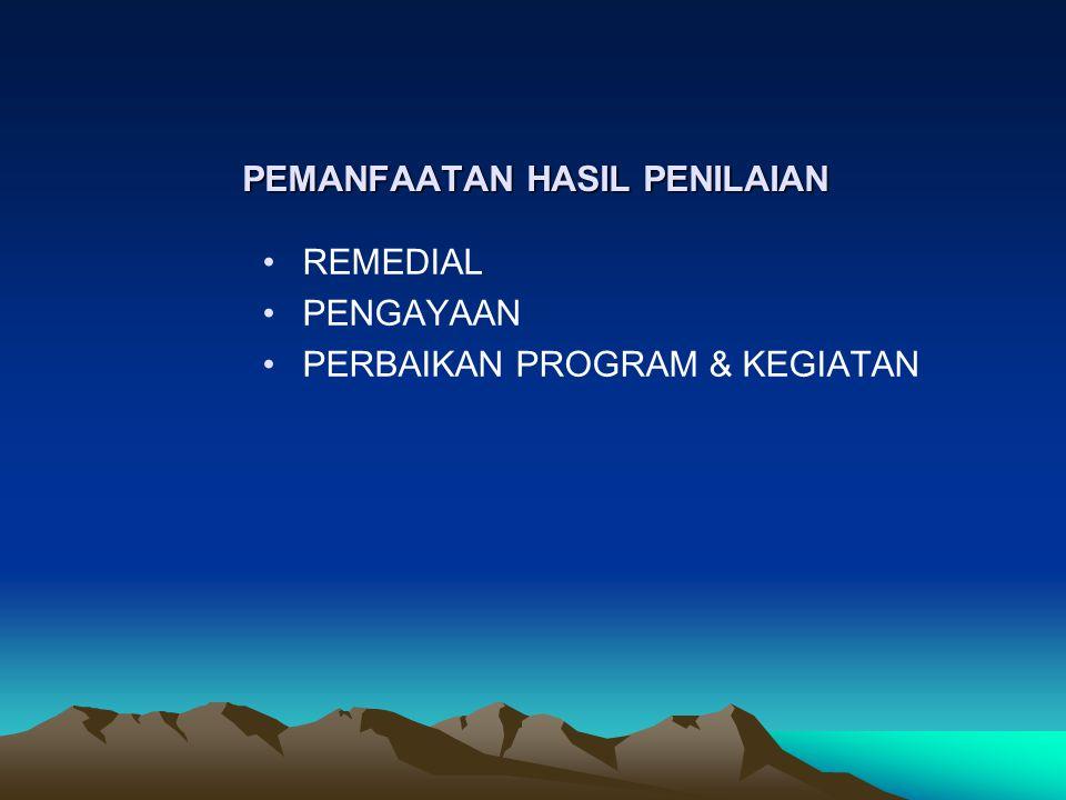 PEMANFAATAN HASIL PENILAIAN REMEDIAL PENGAYAAN PERBAIKAN PROGRAM & KEGIATAN