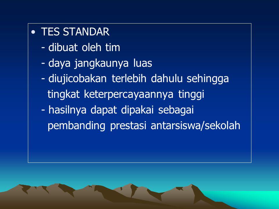 TES STANDAR - dibuat oleh tim - daya jangkaunya luas - diujicobakan terlebih dahulu sehingga tingkat keterpercayaannya tinggi - hasilnya dapat dipakai