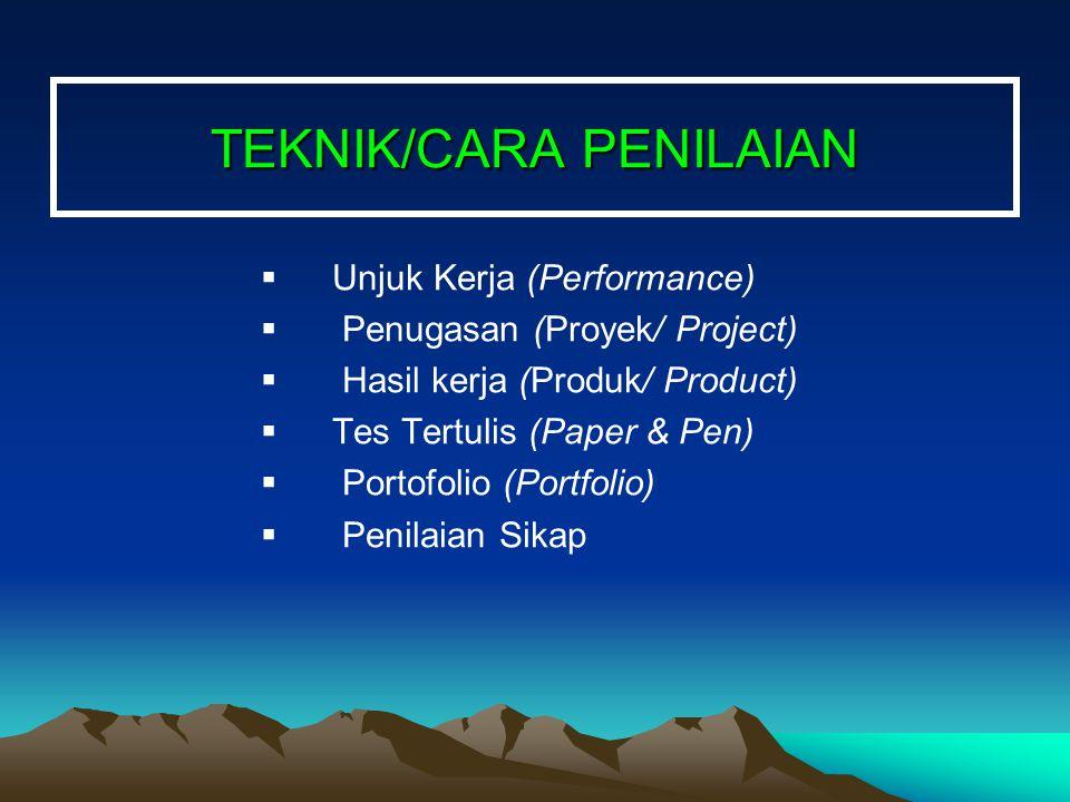 TEKNIK/CARA PENILAIAN  Unjuk Kerja (Performance)  Penugasan (Proyek/ Project)  Hasil kerja (Produk/ Product)  Tes Tertulis (Paper & Pen)  Portofo