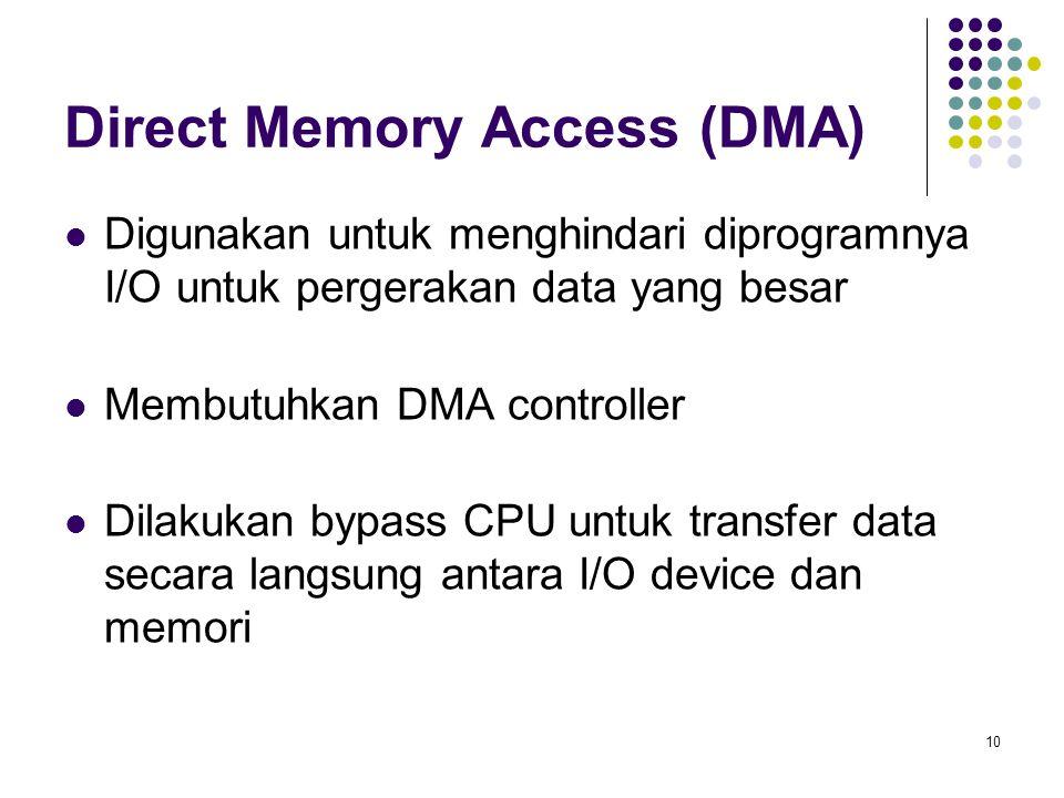 10 Direct Memory Access (DMA) Digunakan untuk menghindari diprogramnya I/O untuk pergerakan data yang besar Membutuhkan DMA controller Dilakukan bypass CPU untuk transfer data secara langsung antara I/O device dan memori
