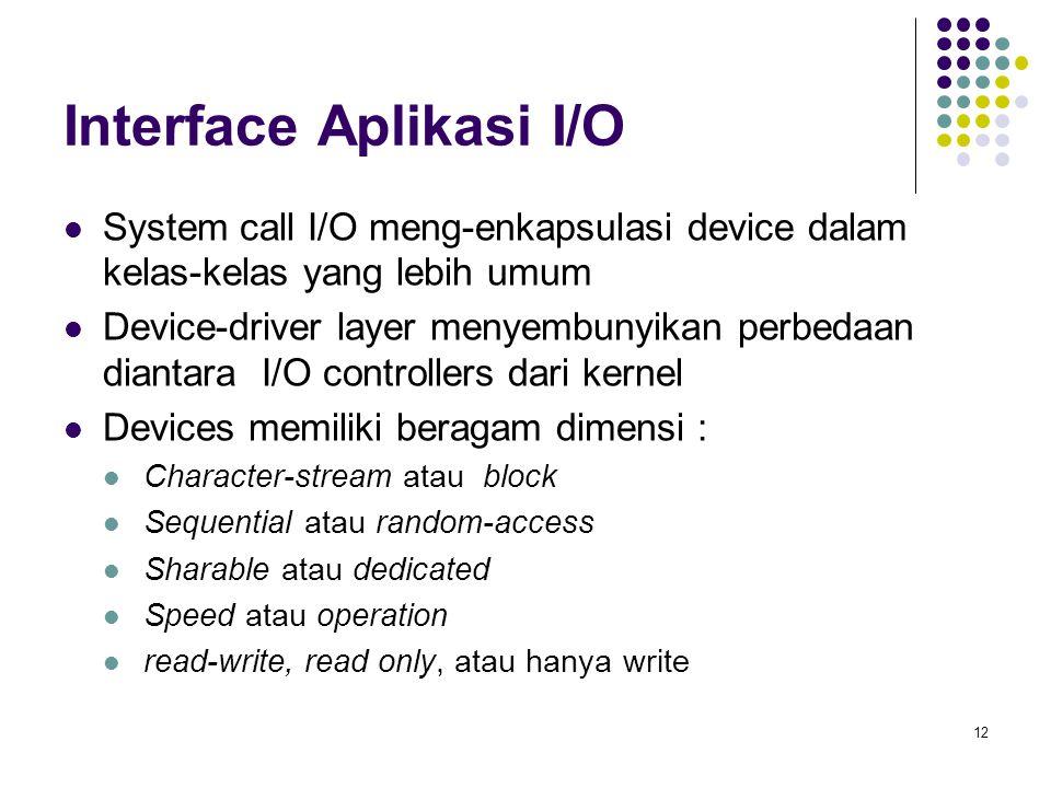 12 Interface Aplikasi I/O System call I/O meng-enkapsulasi device dalam kelas-kelas yang lebih umum Device-driver layer menyembunyikan perbedaan diant