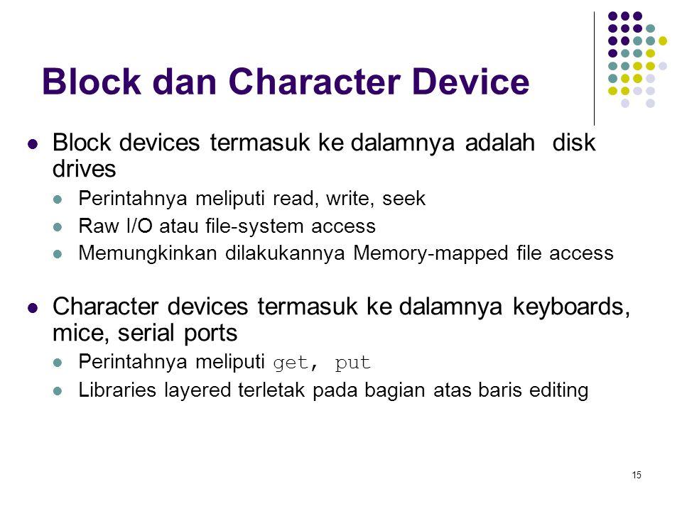 15 Block dan Character Device Block devices termasuk ke dalamnya adalah disk drives Perintahnya meliputi read, write, seek Raw I/O atau file-system ac