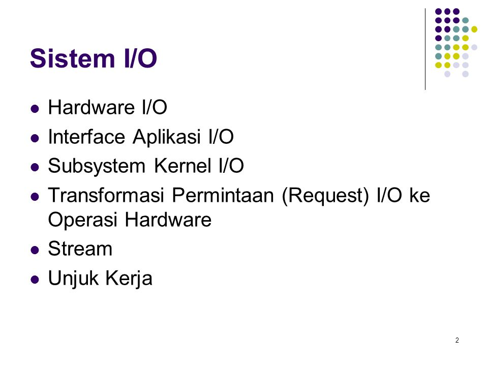 13 Struktur Kernel I/O