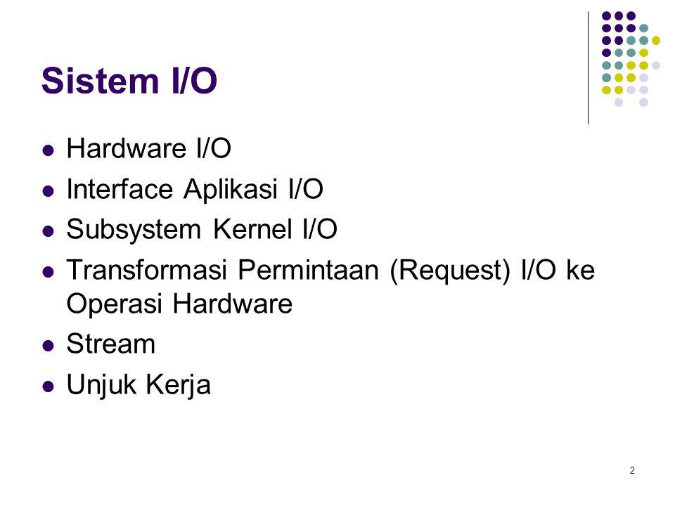 2 Sistem I/O Hardware I/O Interface Aplikasi I/O Subsystem Kernel I/O Transformasi Permintaan (Request) I/O ke Operasi Hardware Stream Unjuk Kerja