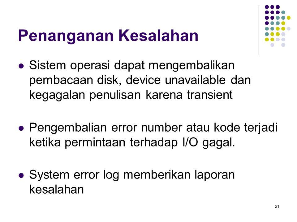 21 Penanganan Kesalahan Sistem operasi dapat mengembalikan pembacaan disk, device unavailable dan kegagalan penulisan karena transient Pengembalian error number atau kode terjadi ketika permintaan terhadap I/O gagal.