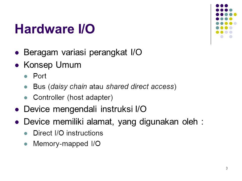 3 Hardware I/O Beragam variasi perangkat I/O Konsep Umum Port Bus (daisy chain atau shared direct access) Controller (host adapter) Device mengendali