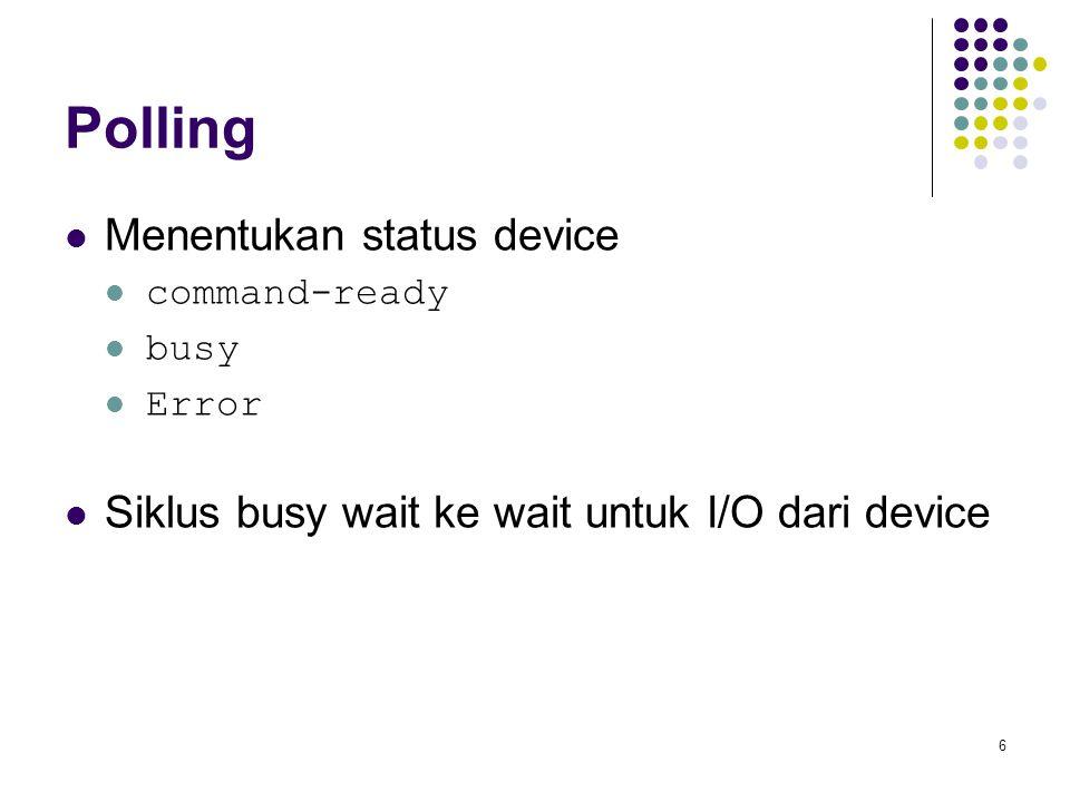 6 Polling Menentukan status device command-ready busy Error Siklus busy wait ke wait untuk I/O dari device