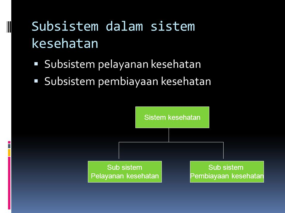 Unsur pokok sistem kesehatan  Organisasi pelayanan  Organisasi pembiayaan  Mutu pelayanan dan pembiayaan