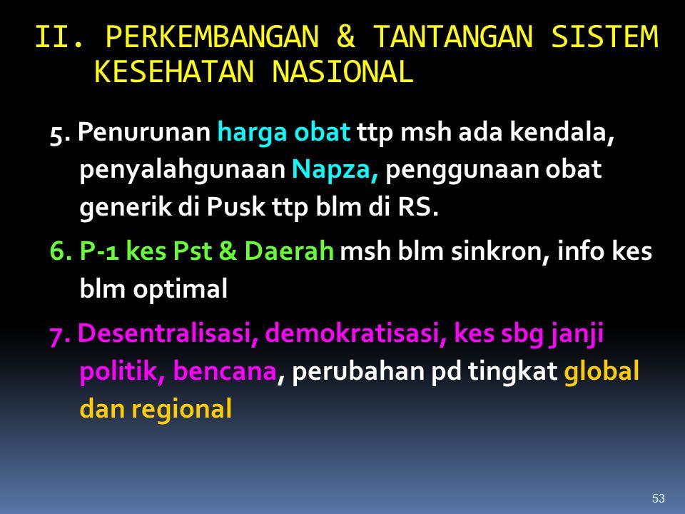 52 II. PERKEMBANGAN & TANTANGAN SISTEM KESEHATAN NASIONAL 1.Pembangunan kesehatan dlm dasa warsa terakhir ini telah cukup berhasil 2.Penduduk Indonesi