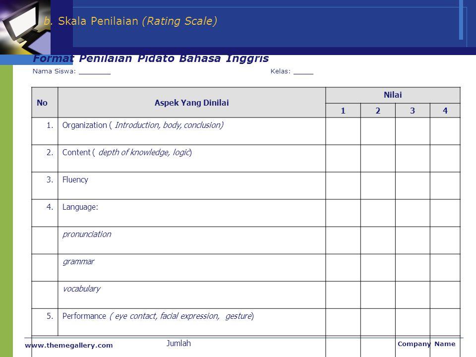 www.themegallery.com Company Name b. Skala Penilaian (Rating Scale) Format Penilaian Pidato Bahasa Inggris Nama Siswa: ________Kelas: _____ NoAspek Ya