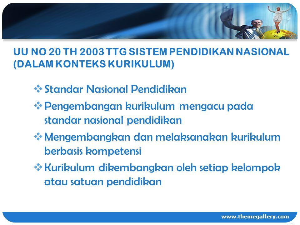 www.themegallery.com UU NO 20 TH 2003 TTG SISTEM PENDIDIKAN NASIONAL (DALAM KONTEKS KURIKULUM)  Standar Nasional Pendidikan  Pengembangan kurikulum