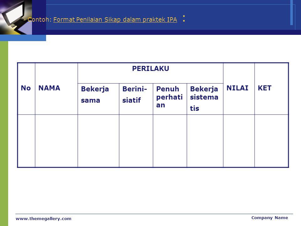www.themegallery.com Company Name Contoh: Format Penilaian Sikap dalam praktek IPA : NoNAMA PERILAKU NILAIKET Bekerja sama Berini- siatif Penuh perhat