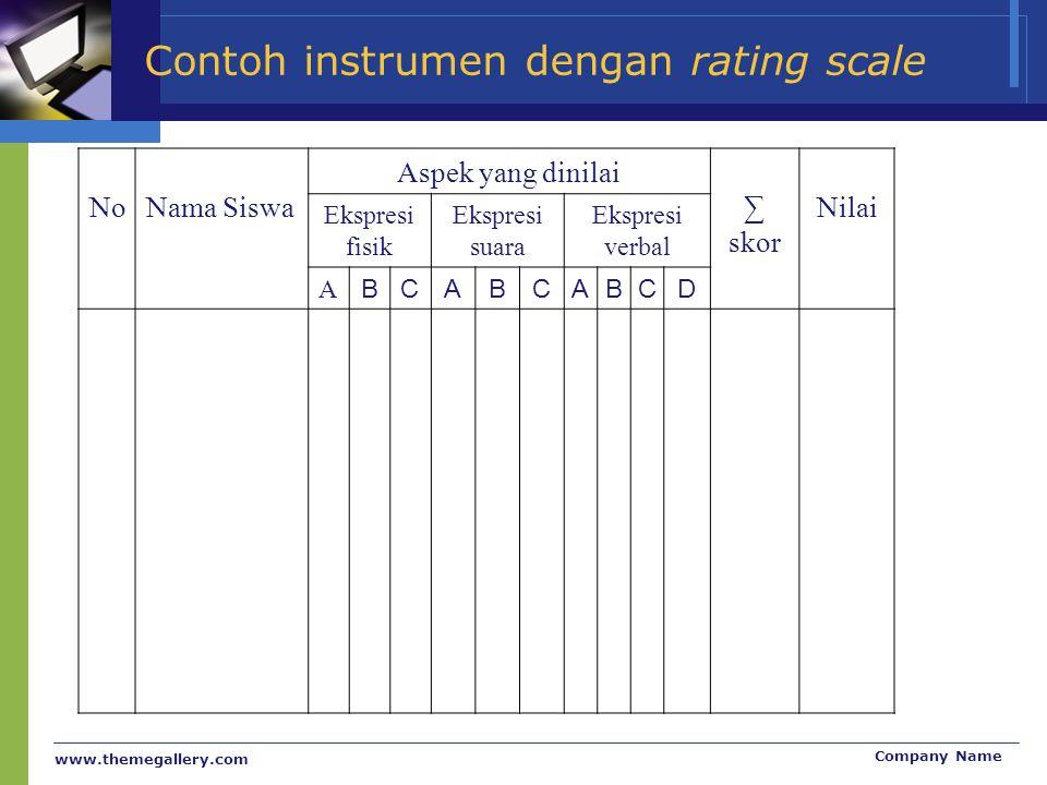 www.themegallery.com Company Name Contoh instrumen dengan rating scale NoNama Siswa Aspek yang dinilai ∑ skor Nilai Ekspresi fisik Ekspresi suara Eksp