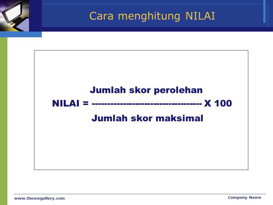 www.themegallery.com Company Name Cara menghitung NILAI Jumlah skor perolehan NILAI = ------------------------------------ X 100 Jumlah skor maksimal