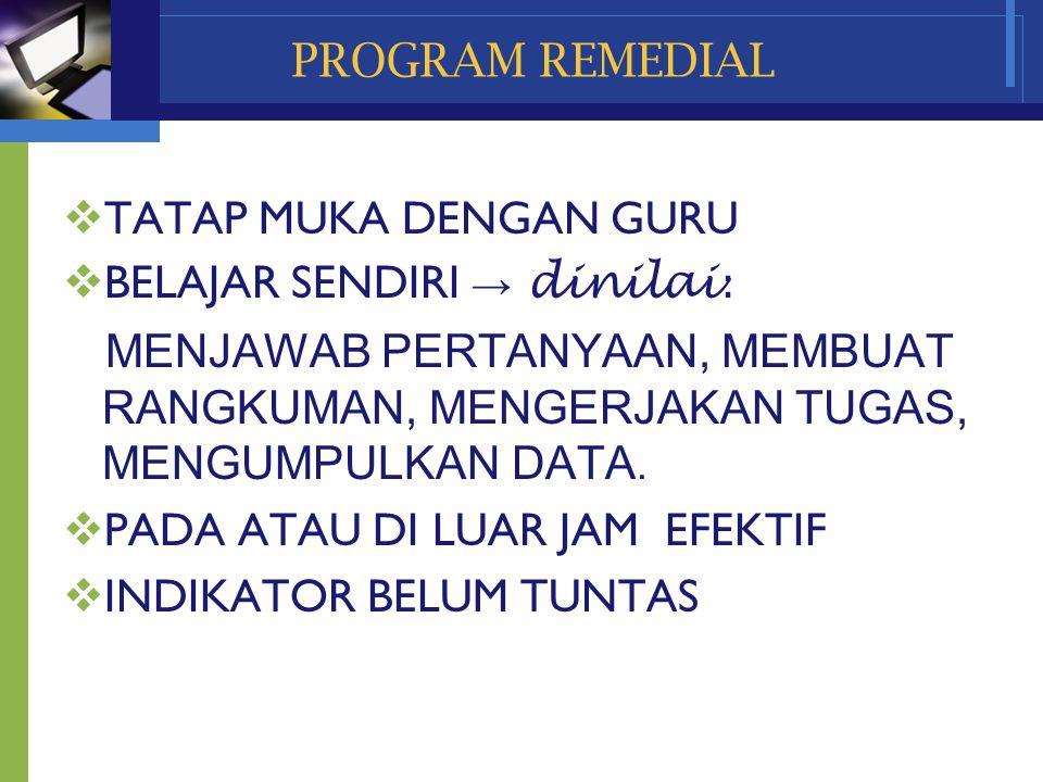 www.themegallery.com Company Name PROGRAM REMEDIAL  TATAP MUKA DENGAN GURU  BELAJAR SENDIRI → dinilai : MENJAWAB PERTANYAAN, MEMBUAT RANGKUMAN, MENG