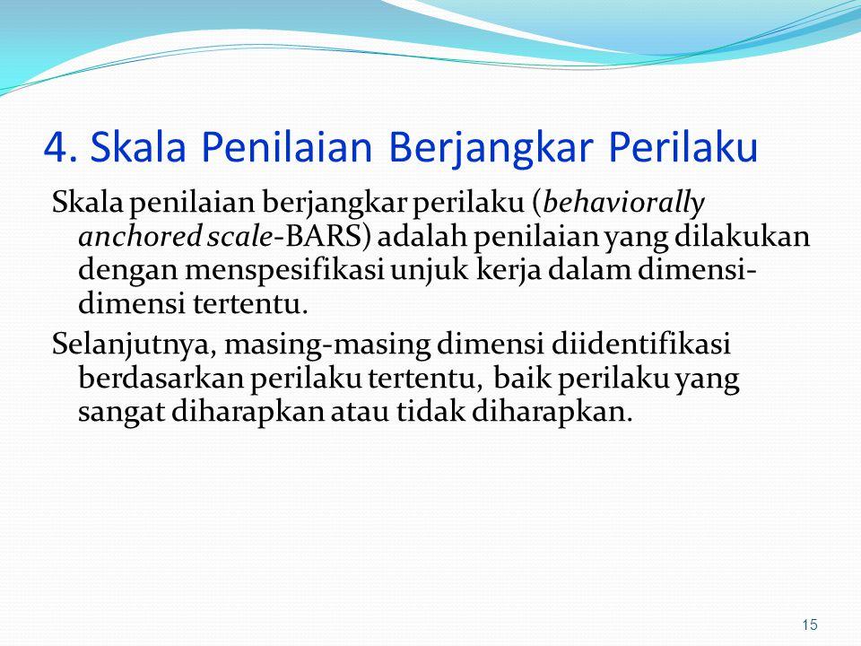 4. Skala Penilaian Berjangkar Perilaku Skala penilaian berjangkar perilaku (behaviorally anchored scale-BARS) adalah penilaian yang dilakukan dengan m
