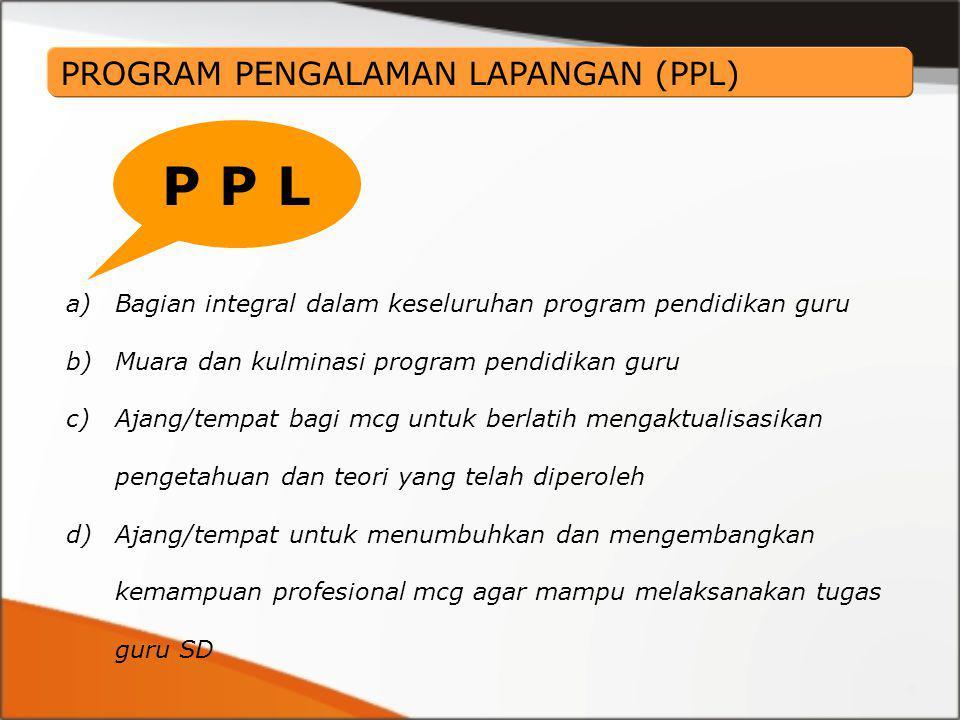 a)Bagian integral dalam keseluruhan program pendidikan guru b)Muara dan kulminasi program pendidikan guru c)Ajang/tempat bagi mcg untuk berlatih menga