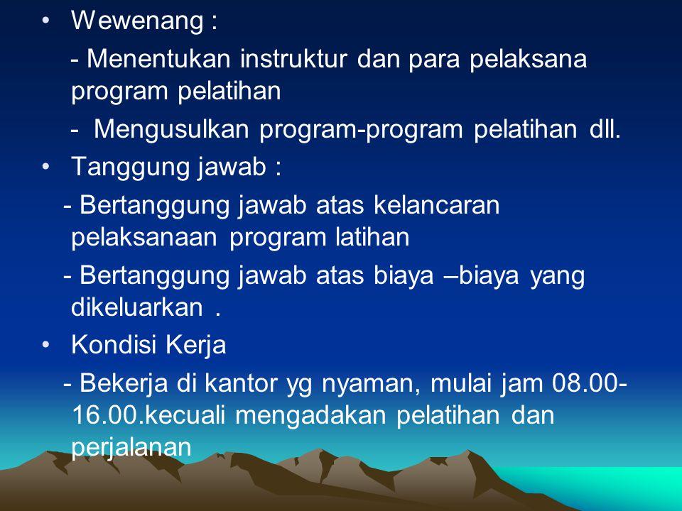 Job Description : Perusahaan Paramita Fungsi : - Mengembangkan, menyelenggarakan,dan mengevaluasi program-program latihan.
