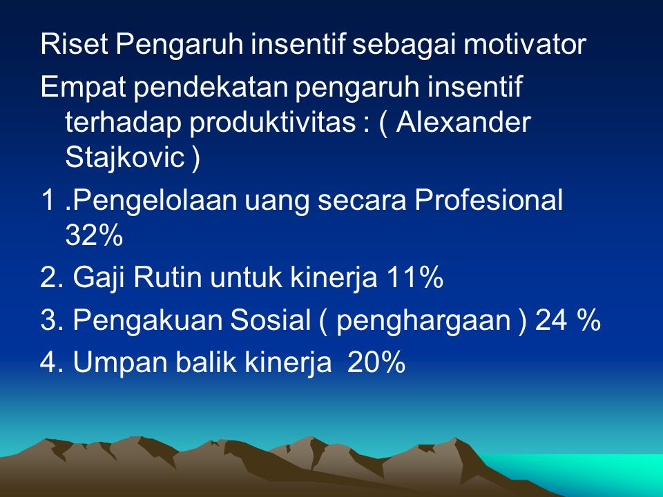 PERBEDAAN KOMPENSASI DI INDONESIA DENGAN DI AMERIKA Jenis KompensasiLiteratureIndonesia Finansial Langsung Base Pay Pay for performance - Merit (kompensasi yang diberkan karena sifat tepuji, melalui penilaian unjuk kerja) - Incentive - COLA( cost of living adjusment )  penyesuaian biaya hidup - Bonus - Reward - Profit Sharing Upah pokok/dasar Tunjangan tetap - Tunjangan jabatan - Tunjangan Keluarga - Tunjangan Masa Kerja - Tunjangan Perumahan - Tunjangan Hari Raya Tunjangan tidak tetap - Tunjangan Transport - Tunjangan Makan - Insentif/premi Finansial tidak langsung Benefit Protection Program Employee Service Kesejahteraan Jamsostek (hari tua, kecelakaan, kematian, kesehatan) Fasilitas - KB/penitipan anak - Perumahan - Ibadah - Olahraga/Kantin - Kesehatan/Rekreasi