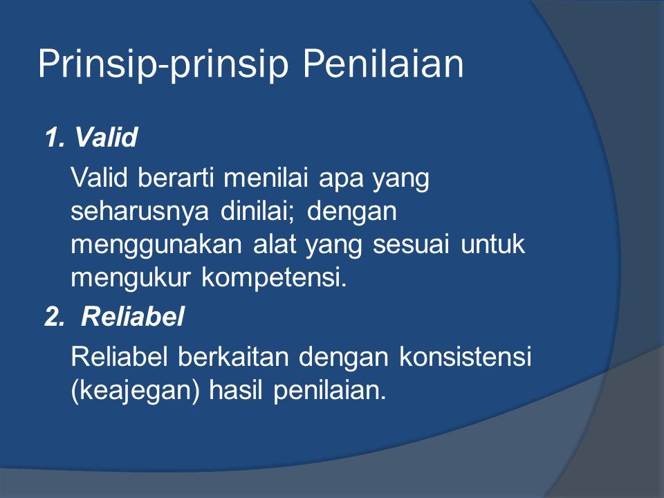 Lajutan Prinsip-prinsip Penilaian 3.Menyeluruh Penilaian harus dilakukan secara menyeluruh mencakup seluruh domain yang tertuang pada setiap kompetensi.