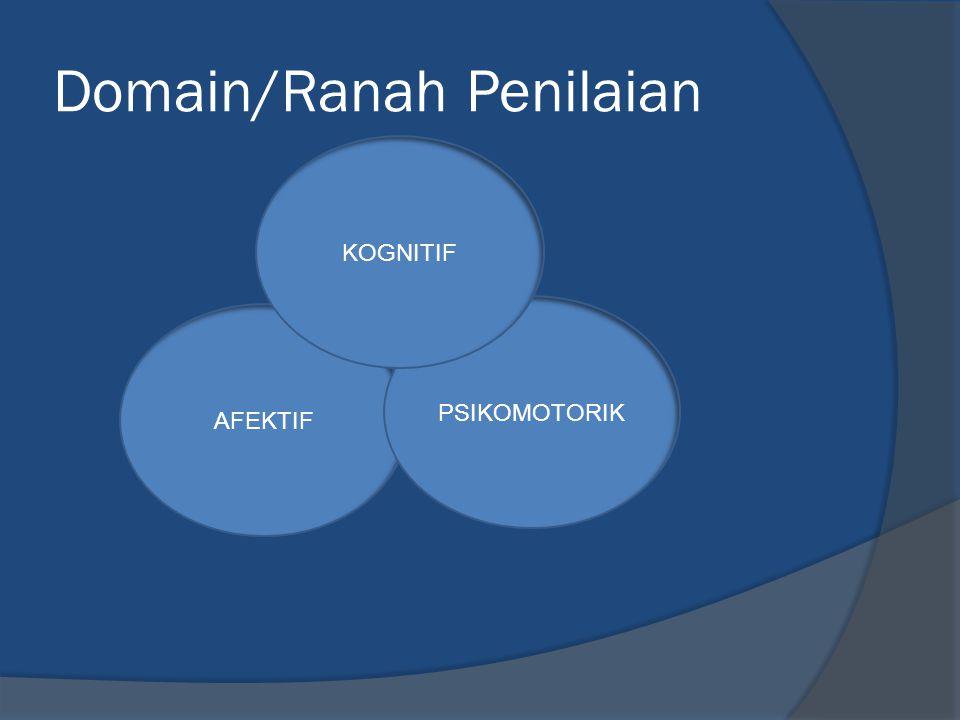 AFEKTIF Domain/Ranah Penilaian PSIKOMOTORIK KOGNITIF