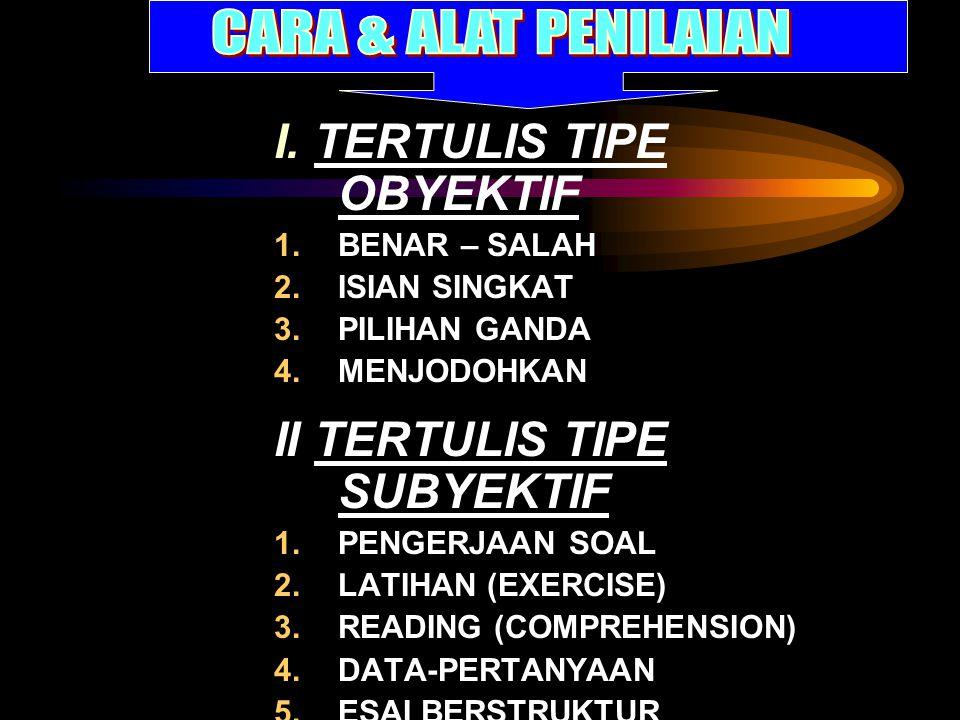 I. TERTULIS TIPE OBYEKTIF 1.BENAR – SALAH 2.ISIAN SINGKAT 3.PILIHAN GANDA 4.MENJODOHKAN II TERTULIS TIPE SUBYEKTIF 1.PENGERJAAN SOAL 2.LATIHAN (EXERCI