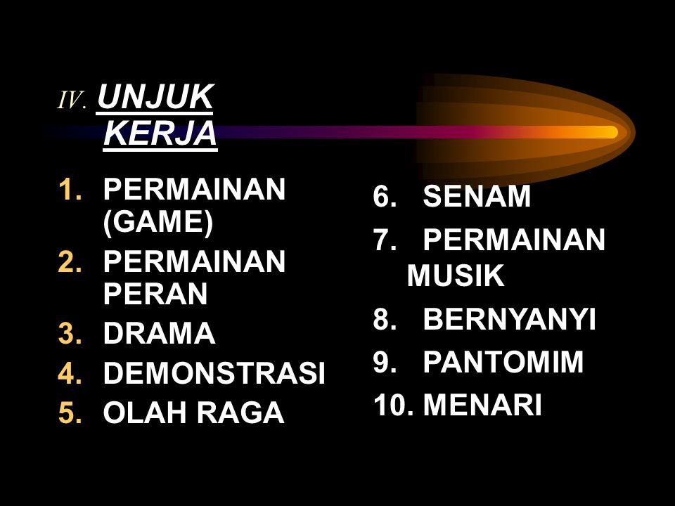 IV. UNJUK KERJA 1.PERMAINAN (GAME) 2.PERMAINAN PERAN 3.DRAMA 4.DEMONSTRASI 5.OLAH RAGA 6. SENAM 7. PERMAINAN MUSIK 8. BERNYANYI 9. PANTOMIM 10. MENARI