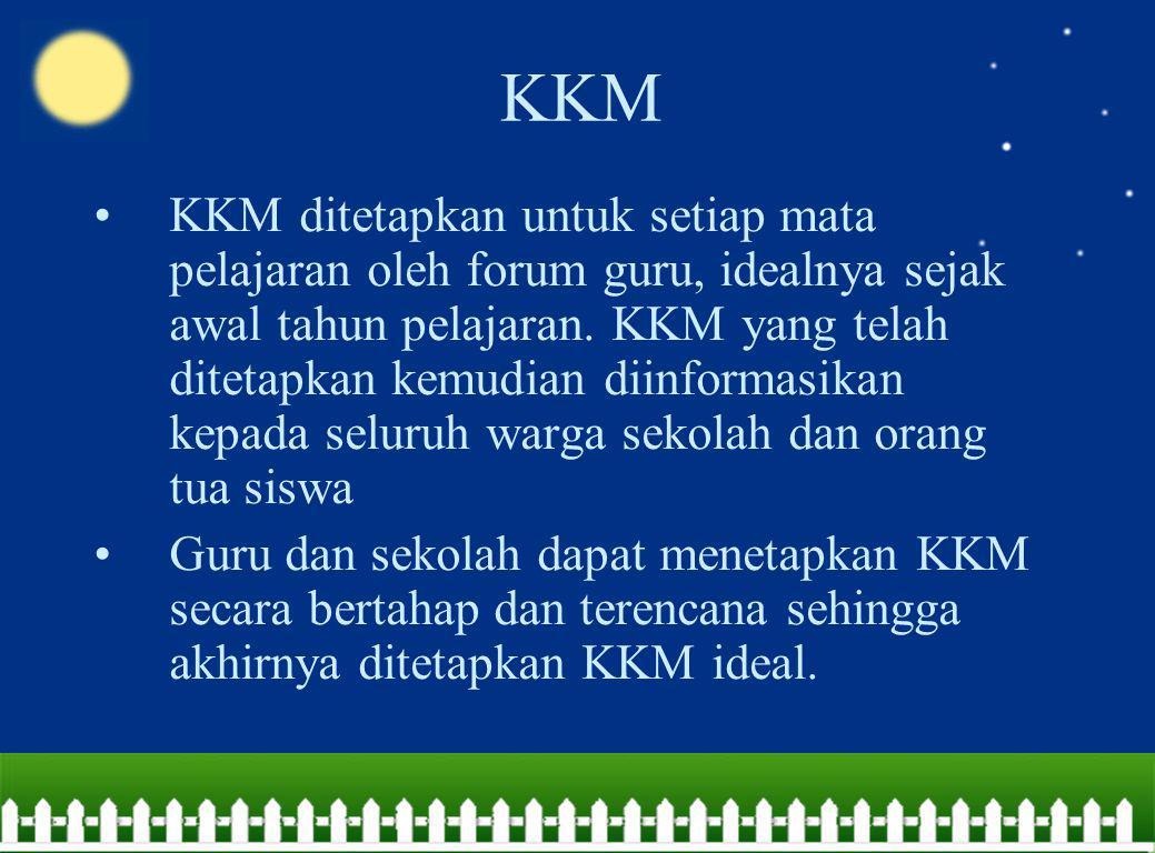 KKM KKM ditetapkan untuk setiap mata pelajaran oleh forum guru, idealnya sejak awal tahun pelajaran. KKM yang telah ditetapkan kemudian diinformasikan