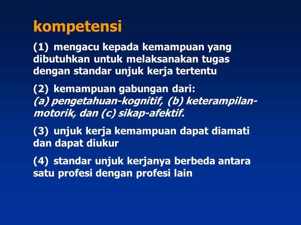 Kompetensi  adalah pengetahuan, keterampilan, karakteristik pribadi yang relevan, yang dipersyaratkan untuk mencapai kinerja terbaik pada suatu pekerjaan.