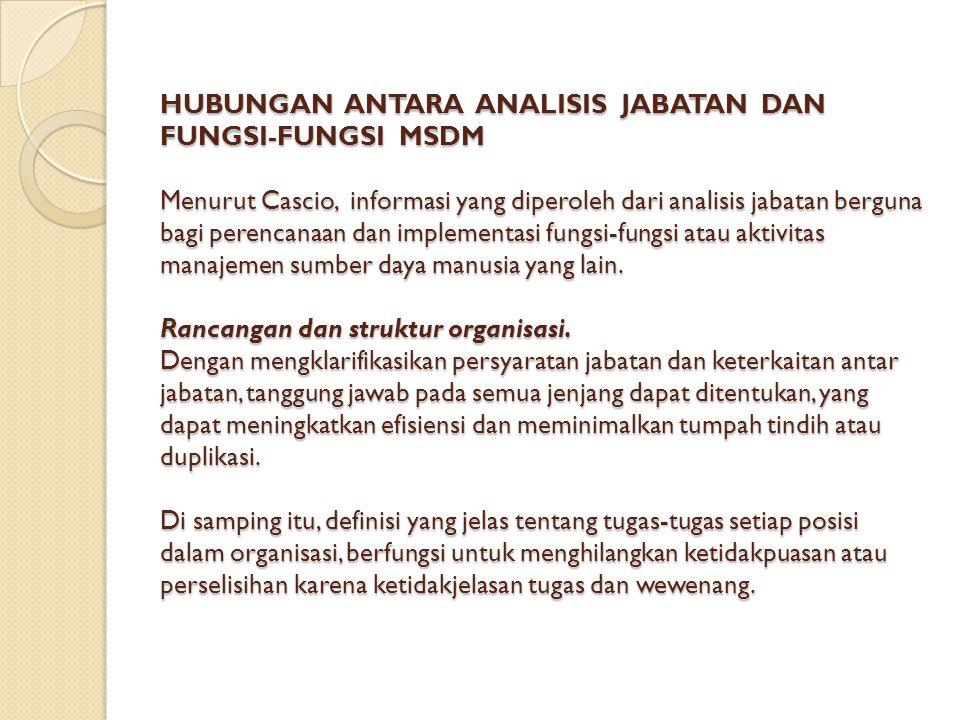 HUBUNGAN ANTARA ANALISIS JABATAN DAN FUNGSI-FUNGSI MSDM Menurut Cascio, informasi yang diperoleh dari analisis jabatan berguna bagi perencanaan dan im
