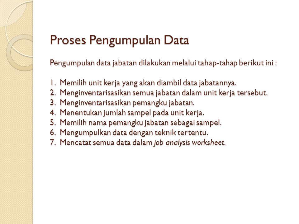 Proses Pengumpulan Data Pengumpulan data jabatan dilakukan melalui tahap-tahap berikut ini : 1. Memilih unit kerja yang akan diambil data jabatannya.