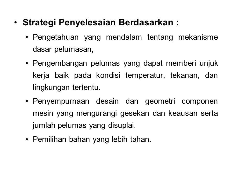 Strategi Penyelesaian Berdasarkan : Pengetahuan yang mendalam tentang mekanisme dasar pelumasan, Pengembangan pelumas yang dapat memberi unjuk kerja b