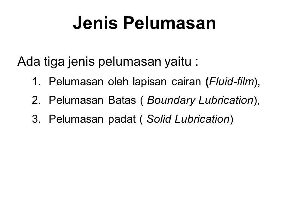 Jenis Pelumasan Ada tiga jenis pelumasan yaitu : 1.Pelumasan oleh lapisan cairan (Fluid-film), 2.Pelumasan Batas ( Boundary Lubrication), 3.Pelumasan