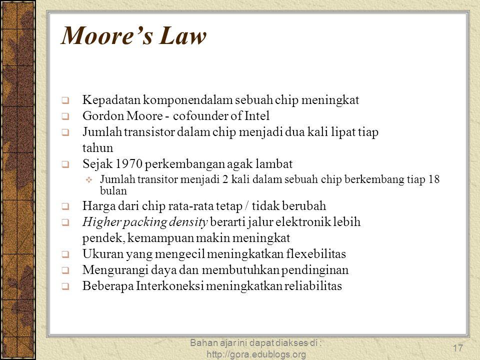 Bahan ajar ini dapat diakses di : http://gora.edublogs.org 17 Moore's Law  Kepadatan komponendalam sebuah chip meningkat  Gordon Moore - cofounder o