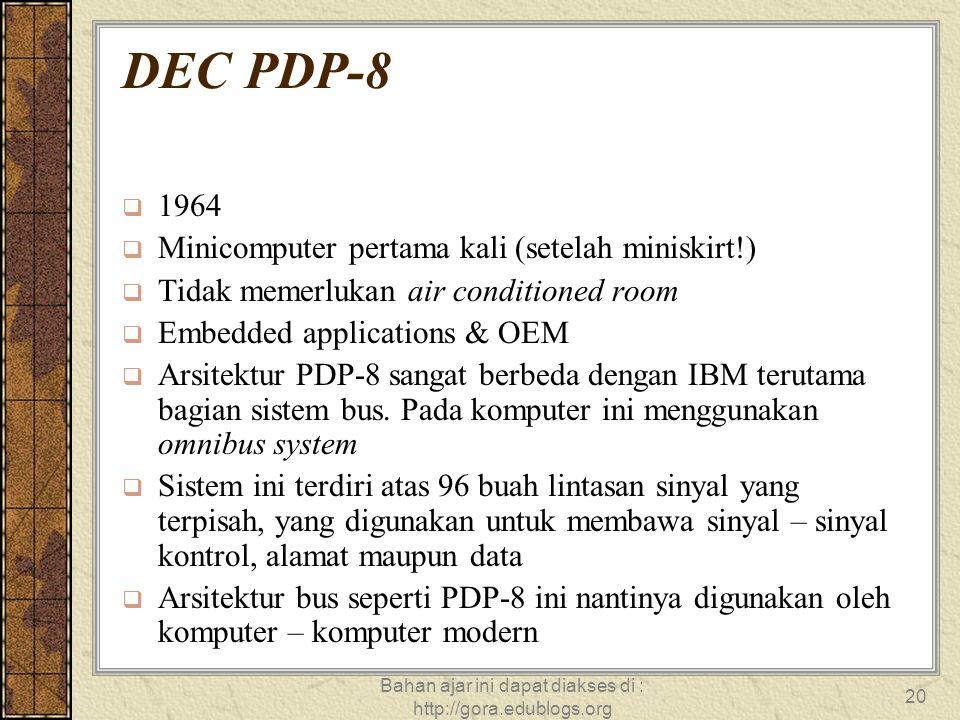 Bahan ajar ini dapat diakses di : http://gora.edublogs.org 20 DEC PDP-8  1964  Minicomputer pertama kali (setelah miniskirt!)  Tidak memerlukan air
