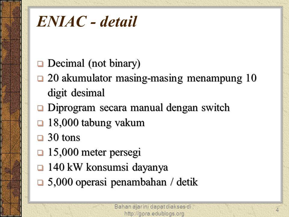 Bahan ajar ini dapat diakses di : http://gora.edublogs.org 4 ENIAC - detail  Decimal (not binary)  20 akumulator masing-masing menampung 10 digit de