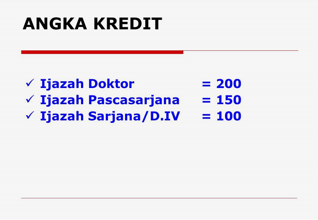 ANGKA KREDIT Ijazah Doktor= 200 Ijazah Pascasarjana= 150 Ijazah Sarjana/D.IV= 100