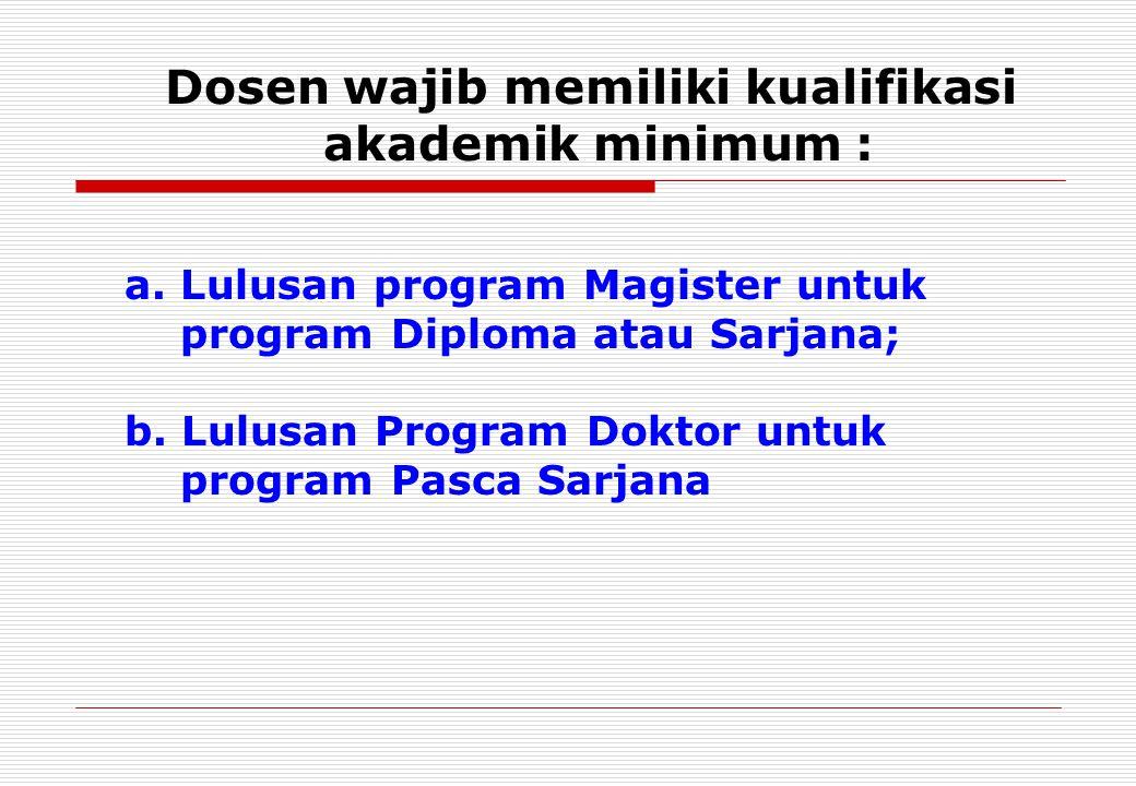 a. Lulusan program Magister untuk program Diploma atau Sarjana; b.